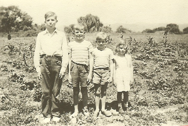 CJ II, Peter, Michael and Susan Kingston in a field on the Farm in the 1940s.