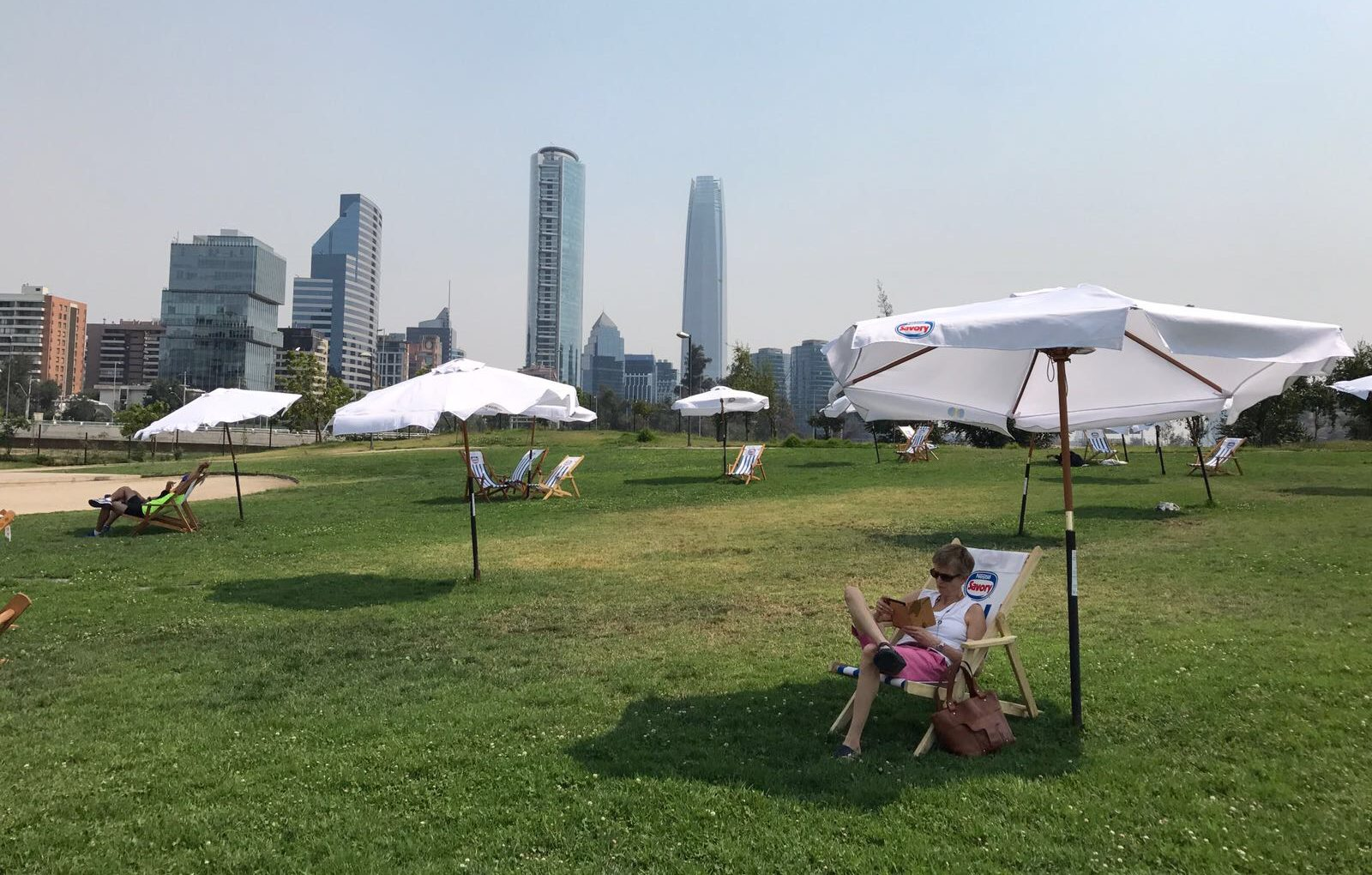 Relaxing in Parque Bicentenario.