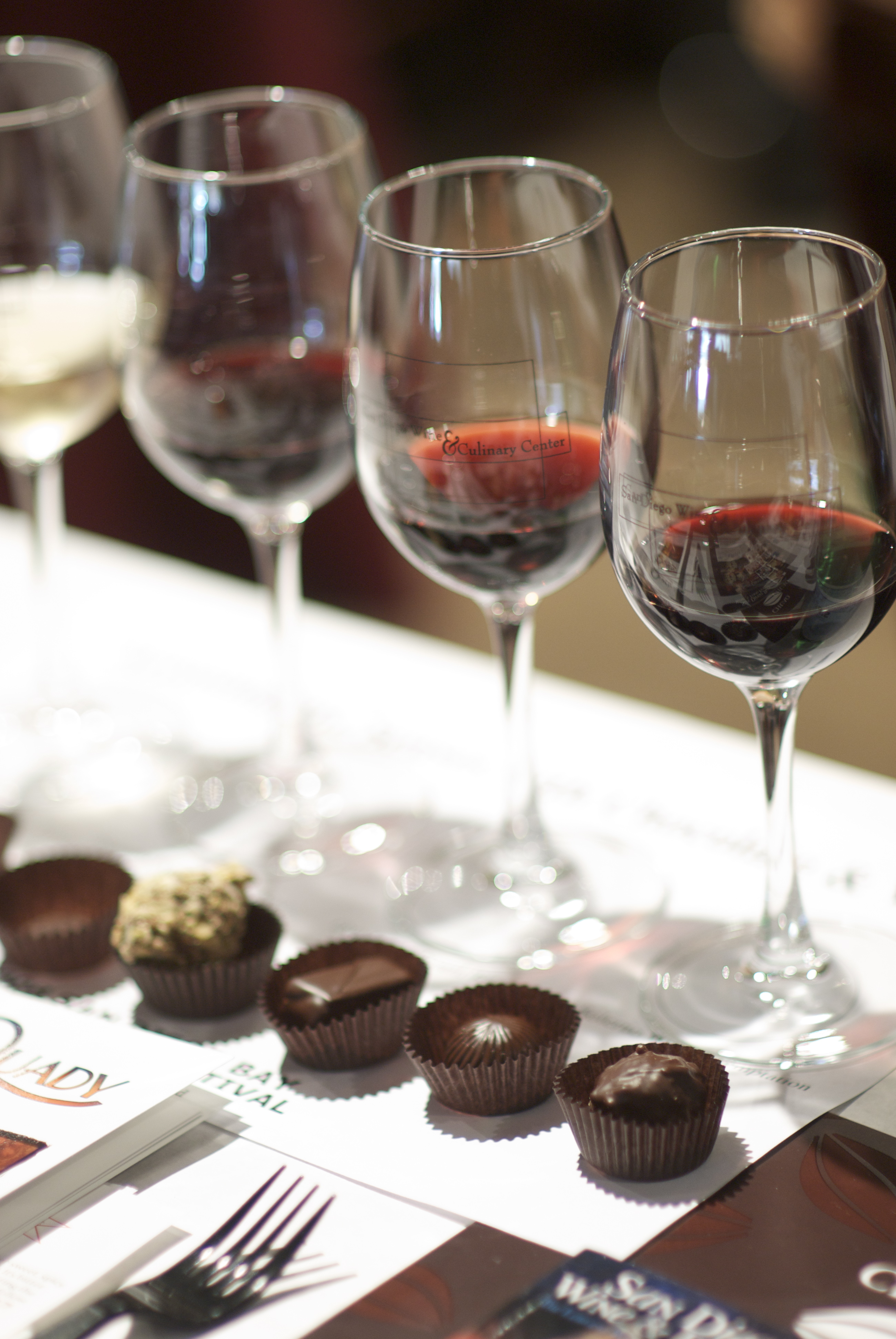 An elegant wine and chocolate tasting event.  Photo by Fast Forward Event Productions