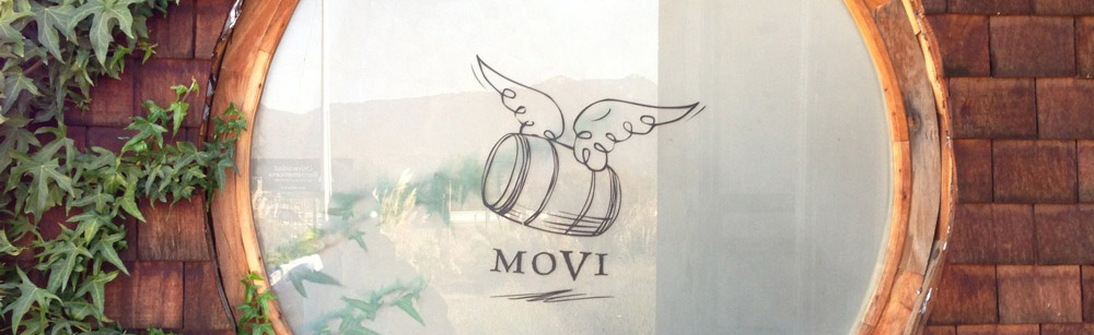 The MOVI logo as displayed on a window at Casa Botha restaurant in Casablanca, Chile.
